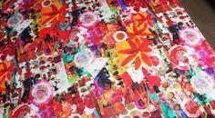 Coupon tissu jersey flammé fin coton polyester floral fleur