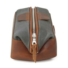 Monogrammed Dopp Kit Travel Bag - Graystone Waxed Canvas   J.W. Hulme Co.