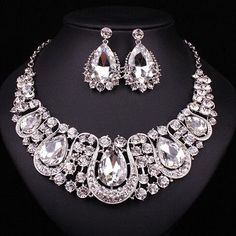 Fashion Indian Jewellery Sapphire Crystal Necklace Earrings Bridal Jewelry Sets For Brides Party Wedding Accessories Decoration