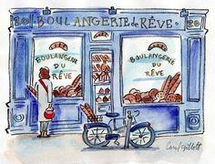 "Paris Dreams Shop, 9"" x 11""    I planned to open an ' imaginary ' Pop-up Paris souvenir shop pre-Christmas.  I didn't get around to it, bu..."