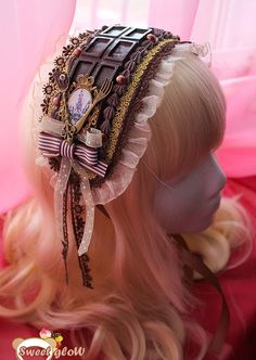 Lolita Fashion // Accessories // Dark chocolate headdress lolita stile by on Etsy // cutlery ribbons bows cameo frame lace brocade whip cream Harajuku Fashion, Kawaii Fashion, Lolita Fashion, Cute Fashion, Asian Fashion, High Fashion, Mode Alternative, Alternative Fashion, Kawaii Accessories