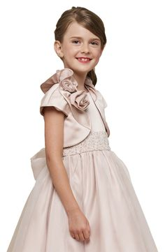 Free shipping and returns on Us Angels Cap Sleeve Satin Bolero (Baby Girls, Toddler Girls, Little Girls & Big Girls) at Nordstrom.com. Pretty flowers adorn one side of the ruffled collar atop a sweet little cap-sleeve bolero cut from shiny satin.