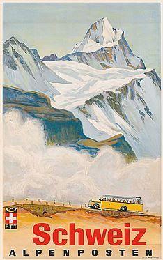 Schweiz Alpenposter mit Postauto