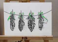 Feather Bunting, Green Ribbon, Original Artwork, Pen and Acrylic Color