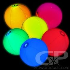 Glowing Beach Balls - Light up your beach party with these Glow in the Dark Beach Balls! - https://glowproducts.com/us/glow-beach-balls #PoolParty #Pool #Ball