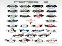 Porsche 50 Years Racing Cars, 1981 - original vintage poster by Ken Rush listed on AntikBar.co.uk