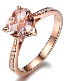 1.00 Carat Heart shape Morganite and Diamond in Rose Gold
