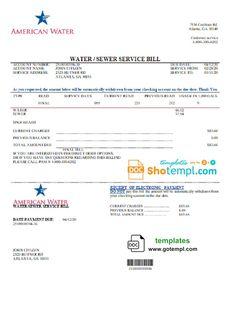 USA Georgia American Water utility bill template