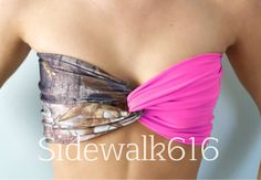 Real Tree Camo and Hot Pink Bandeau Top Spandex Bandeau Bikini Swimsuit