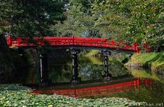 Reflection of a Hirosaki Castle red bridge