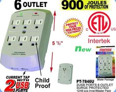 6 Outlet Surge Protector Wall Tap w/ 2 USB Ports - 900 Joules #POWTECH