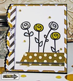Metallic and sparkly flower card created with Flower Show and Get Movin' clear stamp sets from The Alley Way Stamps. For TAWS. Secretbees Studio: Sparkly Flowers!