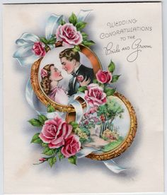 1949 Vintage Original Cushioned Silk Bride 7 Groom Wedding Card | eBay