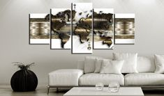 Fashion Wall Art Canvas Painting 5 Pieces Gold Blue Grey Abstract Metal Map Modern Home Decoration,Choose Color And Size No Frame Framed Maps, Framed Wall Art, Canvas Wall Art, Art Mural Fashion, Fashion Art, Wall Prints, Canvas Prints, Photo Images, Picture Photo
