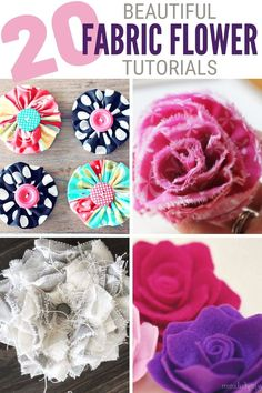 These 20 Easy Fabric Flower Tutorials will get you creating for weddings, home decor, and more! Click here for all of the tutorials! 🌸 #thecraftyblogstalker #fabricflowers #diyfabricflower #easyfabricflowers Easy Fabric Flowers, Material Flowers, Fabric Flower Tutorial, Faux Flowers, Diy Flowers, Burlap Flowers, Flower Diy, Beaded Flowers, Paper Flowers