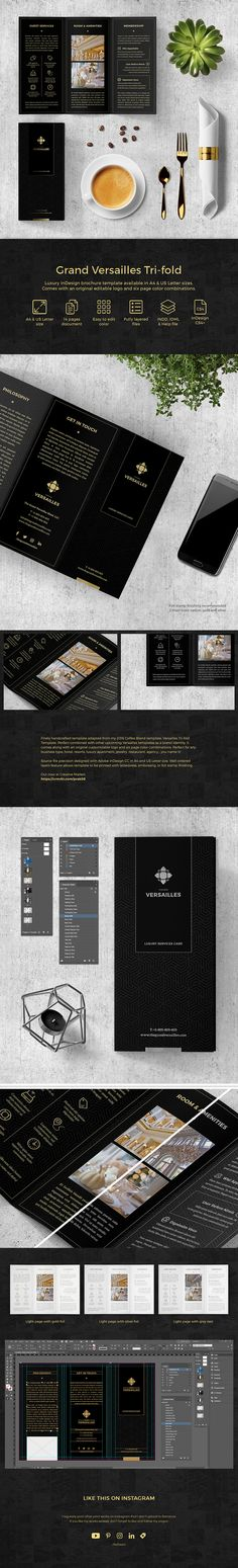 Perfect combined with other upcoming Versailles templates as a brand identity. Template comes with an original editable logo and six page color combinations ($12). #ad #adobe #black #branding #brochure #business #corporate #creativemarket #design #elegant #foil #indesign #layout #luxury #printdesign #trifold