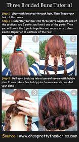 Pinterest Tutorials: Three Braided Buns Tutorial