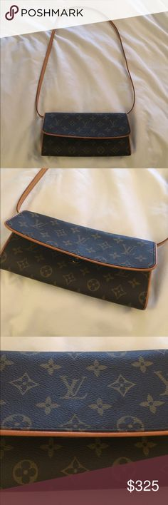 Louis Vuitton Clutch AUTHENTIC Louis Vuitton clutch. I wear this on my shoulder. You can take off the strap and use it as a clutch. Some minor scuff marks on the inside of the clutch,  but not really noticeable. Has 2 buttons that buckle the strap. 9 1/2 inches in width 5 inches in height. Super cute and great condition!! Louis Vuitton Bags Clutches & Wristlets