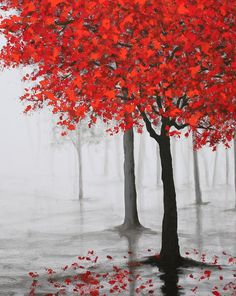 large original paintingwall artred treerainmisty by maggyart
