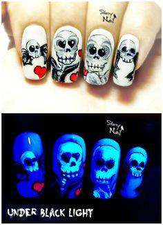 Neon Skulls in Love ⎮Glow in the Dark Halloween Freehand Nail Art Tutorial
