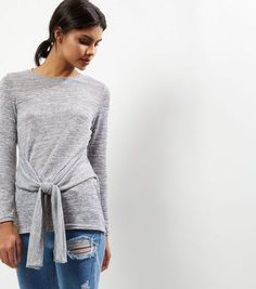 Pale Grey Wrap Front Long Sleeve Top  | New Look
