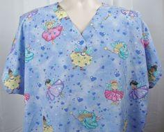 BASIC Dream Fairies Womens Scrub Top 2XL Blue Daydream Short Sleeve Cotton Blend #Basic