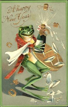 Divided Back Postcard A Happy New Year Frogs Vintage Happy New Year, Happy New Year Cards, Vintage Greeting Cards, Vintage Postcards, Frosch Illustration, Funny Frogs, Frog Art, New Years Poster, Frog And Toad