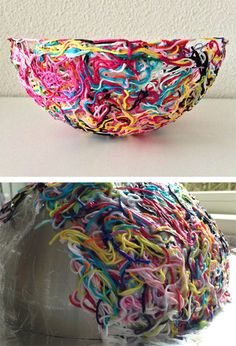 Free tutorial for Yarn Bowl made of yarn ends - Ok, it's not a knitting pattern but it's a great way to use all those yarn ends you know you hate to throw away. maRRose has a great photo tutorial for creating this bow using yarn ends in a homemade paste p Yarn Projects, Knitting Projects, Crochet Projects, Knitting Ideas, Yarn Crafts, Diy And Crafts, Arts And Crafts, Plastic Bag Crafts, Creative Crafts