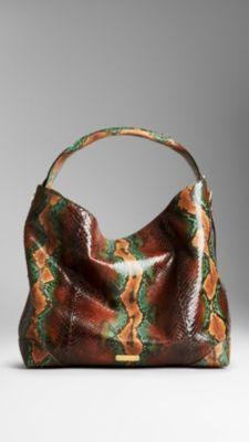 Medium Python Hobo Bag