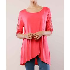 MISIA Coral Lace-Sleeve Scoop Neck Top ($20) ❤ liked on Polyvore featuring tops, misia, layered tops, lace sleeve top, red top and scoop neck top