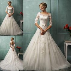 NEW Boat Neck A-line 3/4 Sleeve wedding dress lace Sexy Open Back bridal Gown