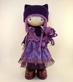 RAG DOLL - Zooey made to order handmade 13 inch cloth girls purple