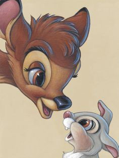 Bambi and Thumper. First movie I ever saw, at the drive in with my parents and brother. I just remember crying at the ending