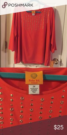 NWT Ruby Red orange 3/4 sleeve top Perfect for spring! Tops