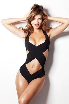 Black Bathing Suit...more material than most and still gives the illusion of less...