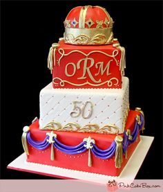Red and Gold 50th Birthday Cake by Pink Cake Box