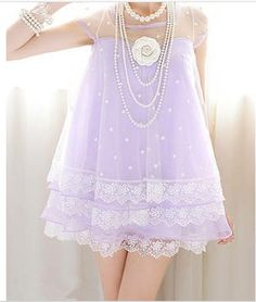 Stars and Lace Baby Doll Dress in Lilac  / Pastel Goth, Soft Grunge
