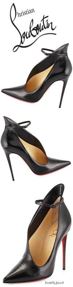 #CHristian Louboutin ~ Vampydoly Leather Ankle-Wrap Red Sole Half-Bootie Pre Fall 2015