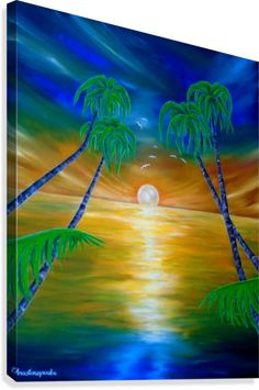 Canvas print, painting, art, tropical, seascape, palmtrees,sunset,sunrise,shimmering,light,sky,wall art, wall decor, decorative items, colorful, blue, fantasy, whimsical, pictorem