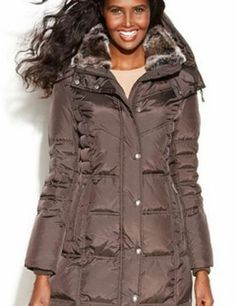 MICHAEL Michael Kors Hooded Faux-Fur-Trim Down Puffer Coat - Coats
