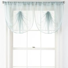 Home Expressions Lisette Sheer Macramé Tuck Valance - JCPenney White Curtains, Colorful Curtains, Window Scarf, Scarf Valance, Sheer Valances, Balloon Shades, Curtain Length, Houses, Windows