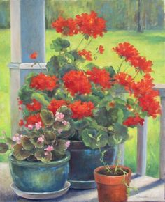 "Daily Paintworks - ""SIDE PORCH FLOWERS An Origina..."" by Claire Beadon Carnell"