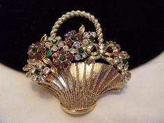 Craft Flower Basket Brooch Glass Rhinestone Purple White Green Gold Plate Pin Vintage 1960s by AnnesGlitterBug on Etsy