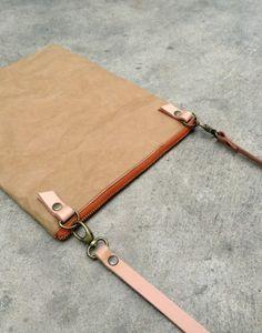 Kraft fabric paper ipad zipper bag with detachable by Belltastudio, $38.00 #belltastudio #etsy #paperbag #ipadbag #clutch #pouch #waterproof #shoulderbag #leather