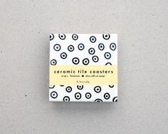 Dessous de verres / carreaux de céramique / Noir et par HirundoShop