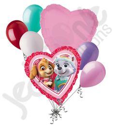 Paw Patrol Girl Valentine Heart Balloon Bouquet