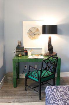 Brian Paquette, green west elm parson desk, chippendale chair, marbled DIY artwork, Sunset Magazine idea house