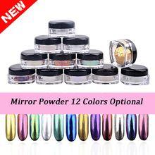 Novo 2 g/caixa Shinning Espelho Prego Glitter Pó Poeira DIY Nail Art Decorações de Lantejoulas Chrome Pigmento 12 Cores Opcional alishoppbrasil