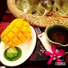 """pandanus leaf sticky rice with sweet and tasty mango"" at divana divine thonglor, #ECODesign spa in the heart of Bangkok with #GreenGarden which is filled with greenery and we also welcome our customer with exclusive ""pandanus left sticky rice with sweet and tasty mango"" only at divana divine"