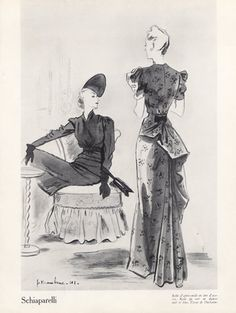 1941 gowns | Schiaparelli 1941 Jc. Haramboure, Evening Gown Ducharne